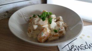 Kürbis Gnocchi in einer Käse Sahne Sauce